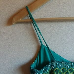 LOFT Dresses - LOFT | Strappy Green & Blue Crochet Dress